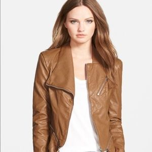 Blank NYC Faux Leather Biker Jacket- Cognac XS